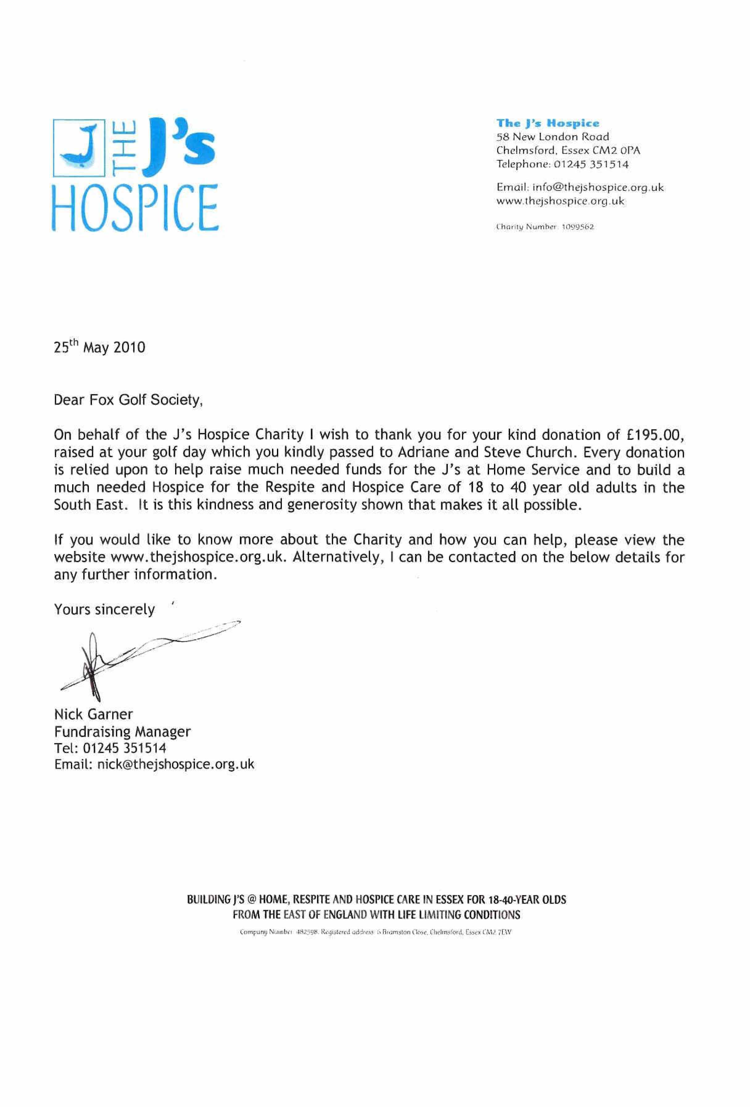 The Js Hospice Thank You Letter